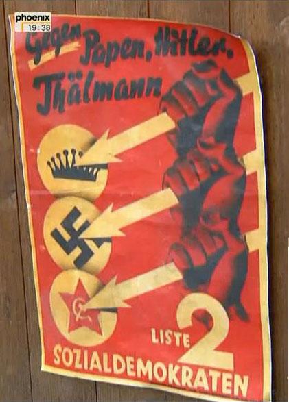 Фото. Плакат СДПГ, 1932 г. Три стрелы - это эмблема Железного фронта, который упоминается в песне..JPG